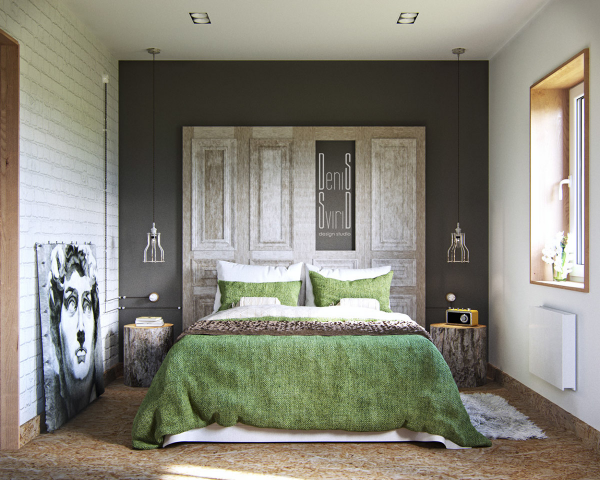 Grassy green linens are oh-so-sweet in this small bedroom.