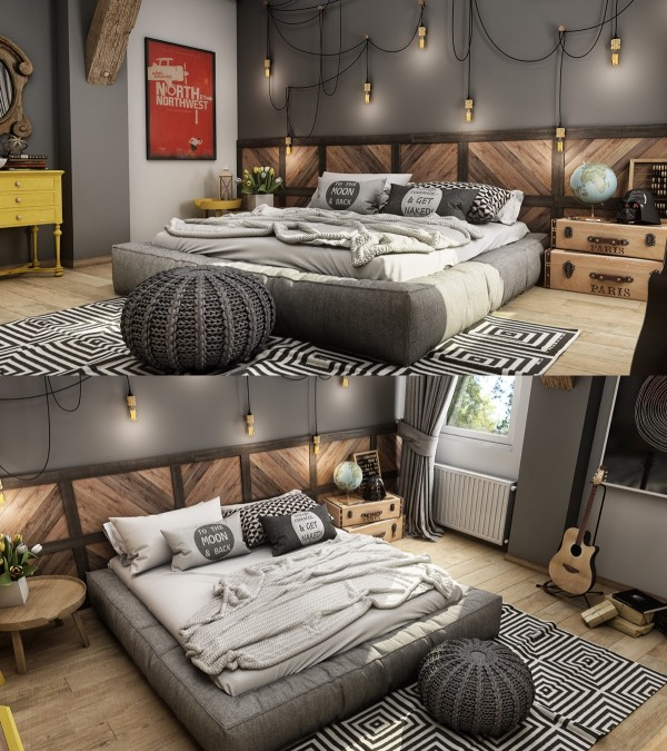 This bedroom certainly has a hipster personality with its dangling industrial lights and geometric area rug.