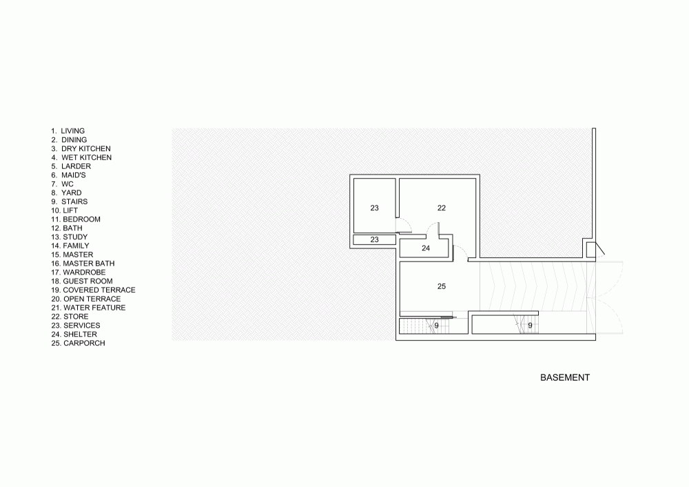 House Layout - Open tropical home with interior courtyard and wood features