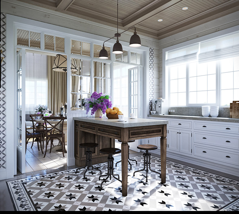 Old Kitchen Tile: 2 Provence Style Apartment Designs With Floor Plans