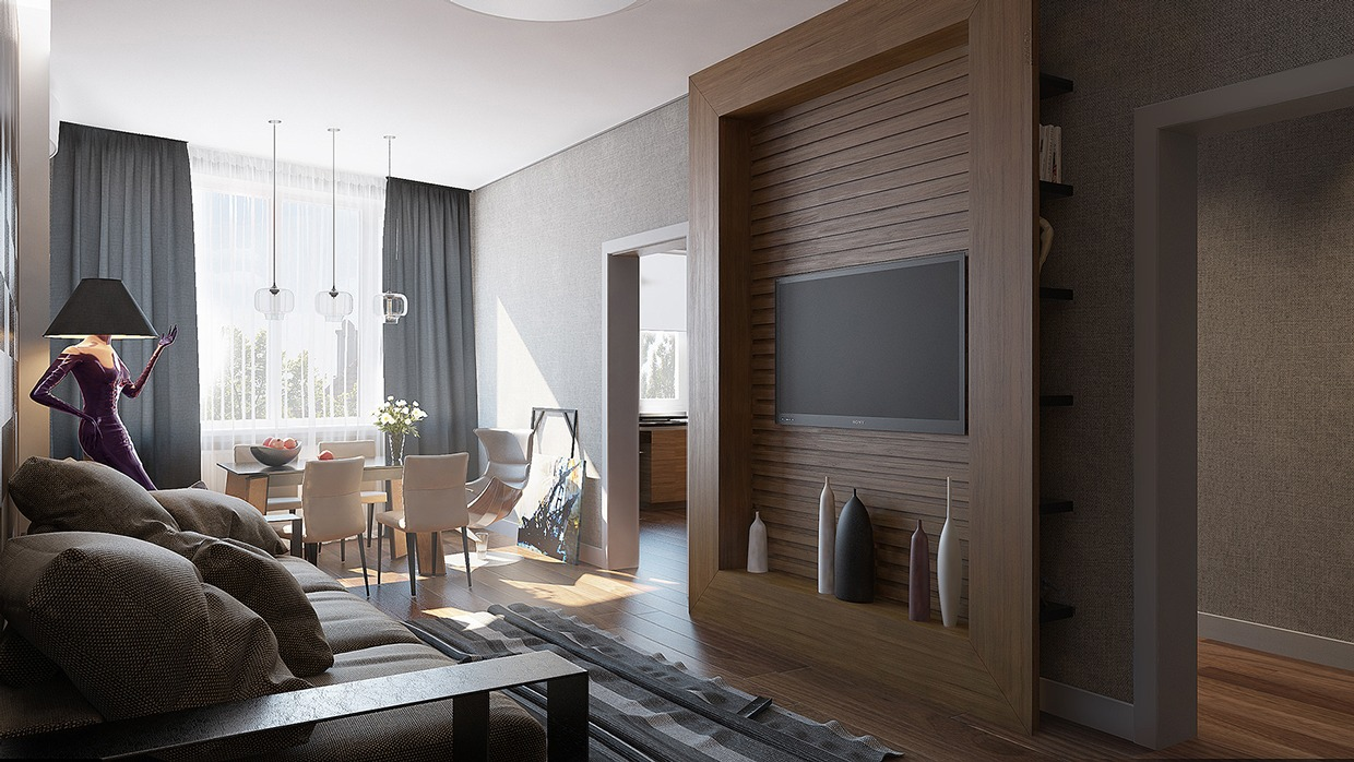 2 single bedroom apartment designs under 75 square meters for Interior design for 2 bed flat