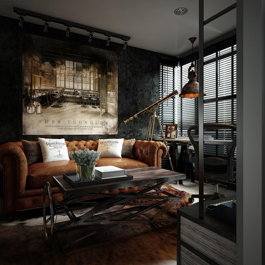 Three dark colored loft apartments with exposed brick walls Dark curtains small room