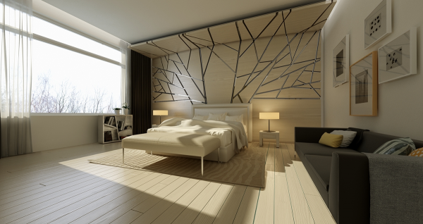 The wall design in this bedroom almost gives the impression of shattered glass.