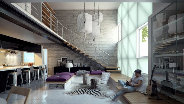 The second loft space, from design Ivan Guillen, is somewhat different from the first representation, reminding us much more of what a 'typical' loft style might be. Warm industrial elements pervade the space from steel and able railings to soft lighting fixtures that look suspiciously DIY.