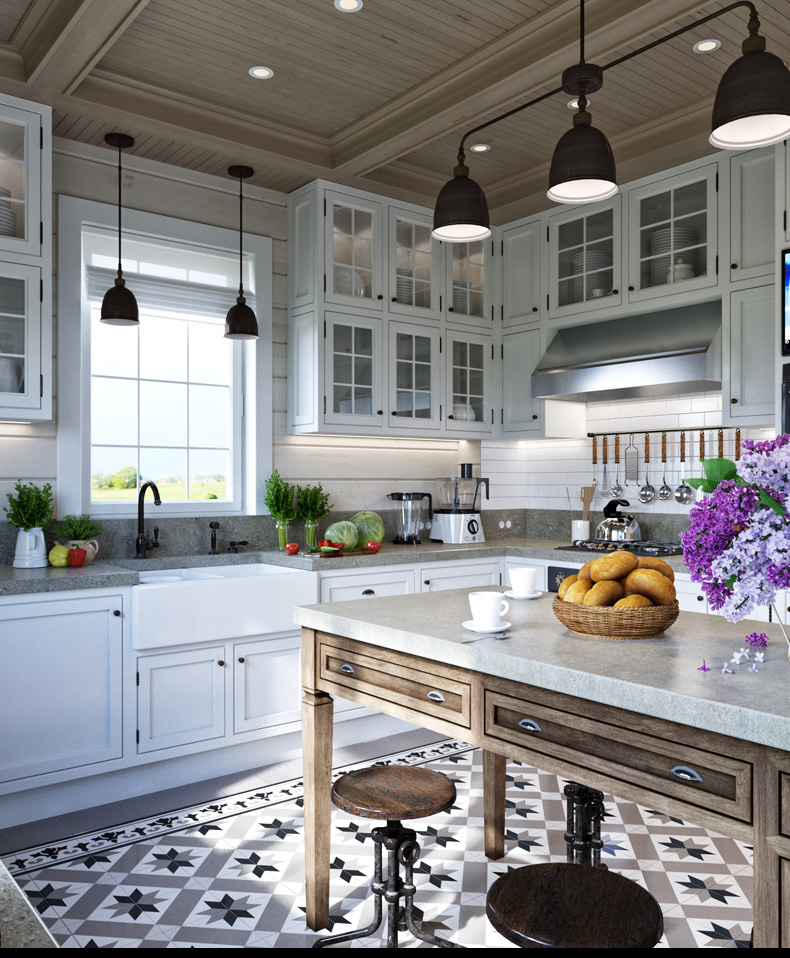 Luxury Kitchen Island - 2 provence style apartment designs with floor plans
