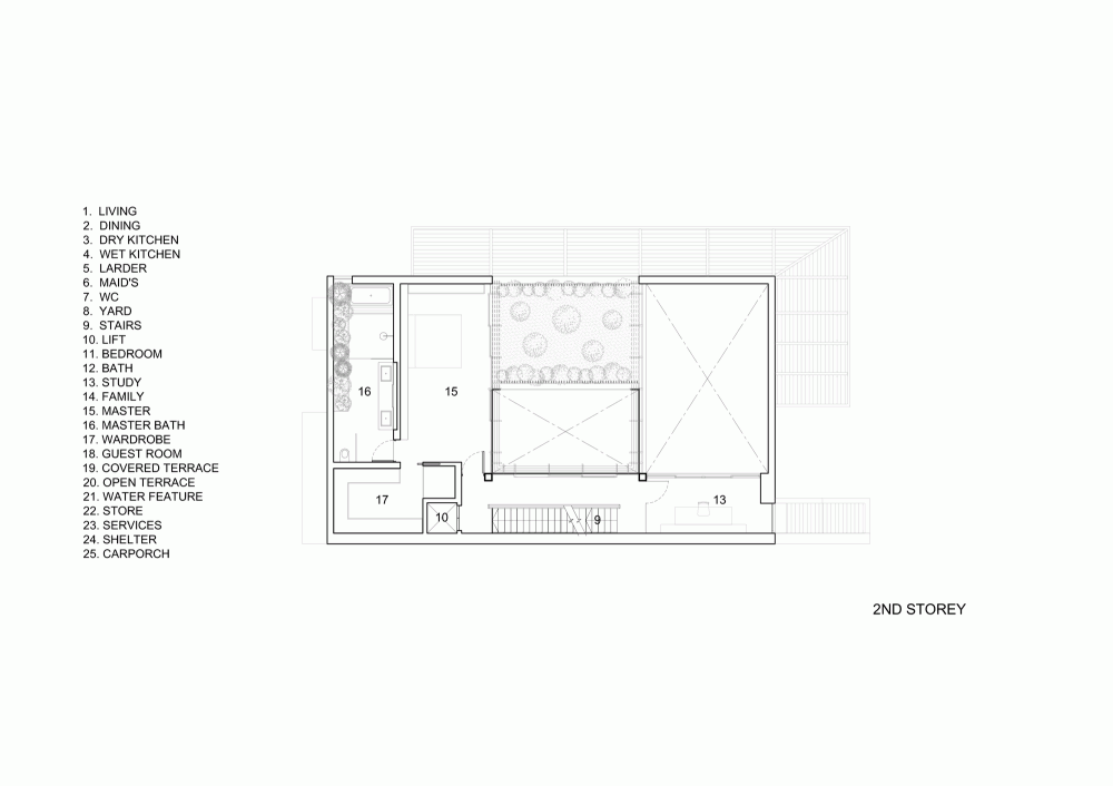 Modern House Layout Floorplan - Open tropical home with interior courtyard and wood features