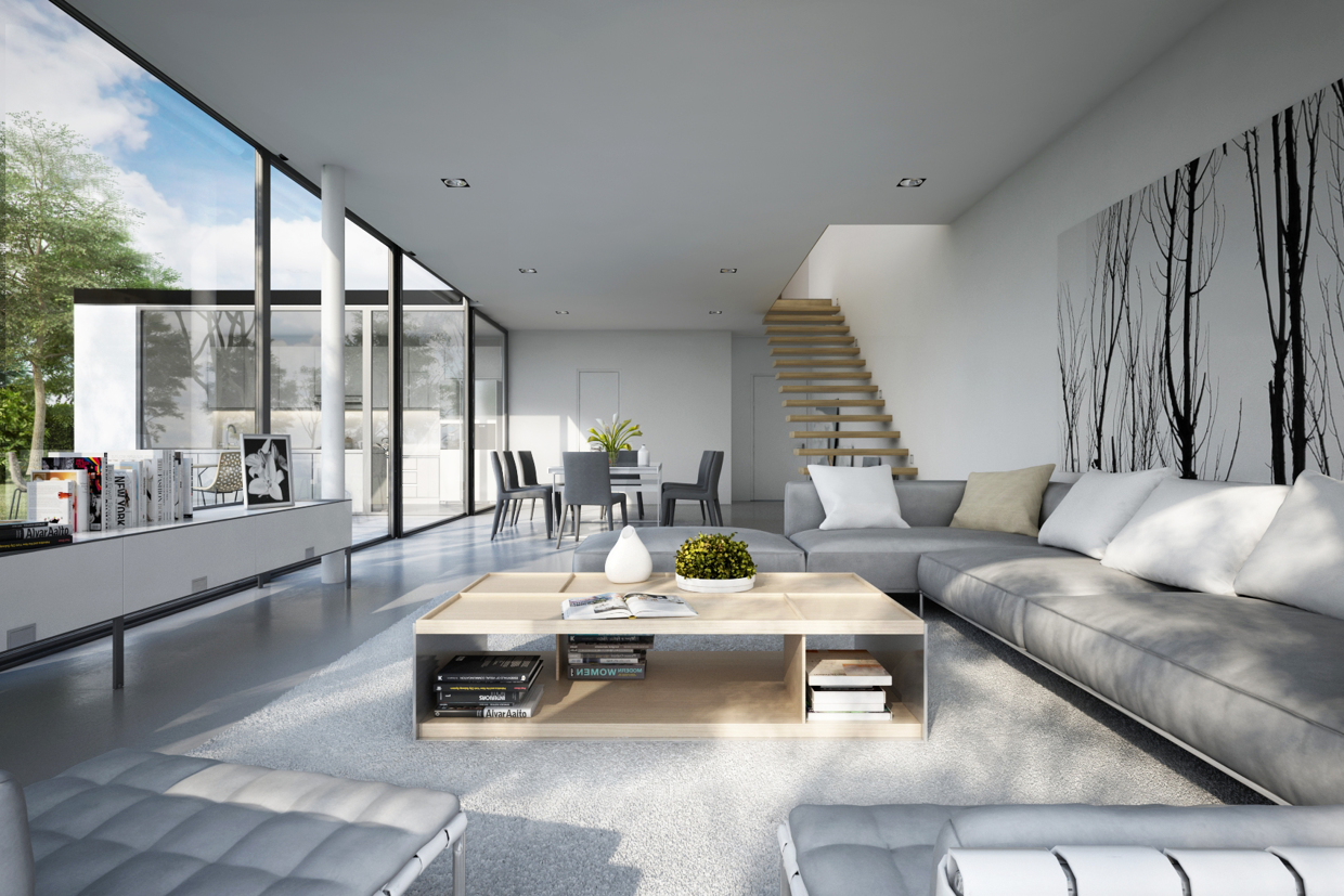 25 modern living rooms with cool clean lines for Apartment design examples