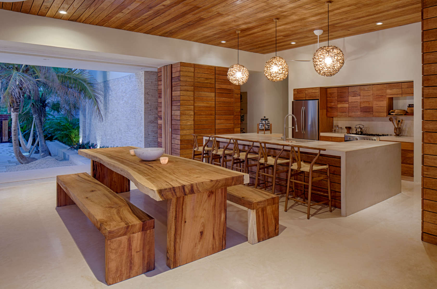 Natural Carved Dining Table - Eco friendly house in mexico does not sacrifice style