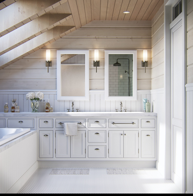 Natural Wood Bathroom - 2 provence style apartment designs with floor plans