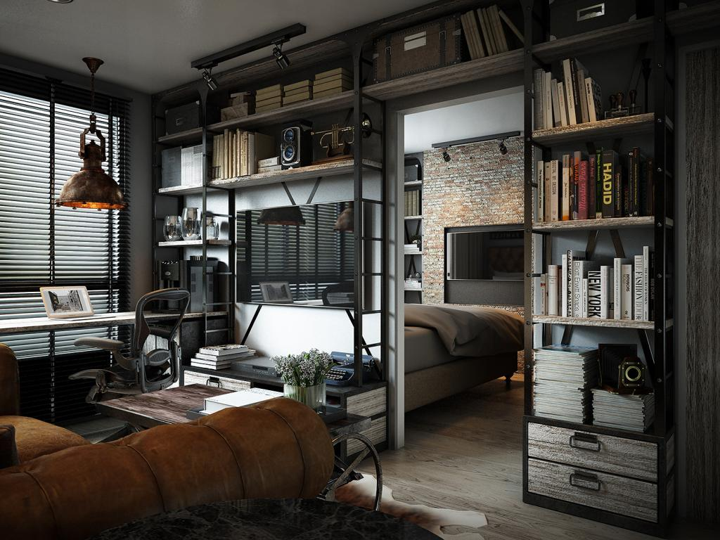 Three dark colored loft apartments with exposed brick walls for Design interior apartemen 1 bedroom