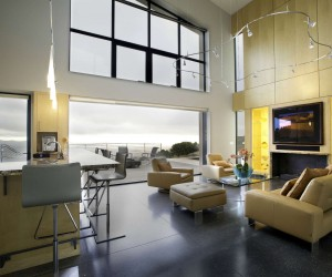 Throughout the house, sustainability is an important factor in the design. Concrete flooring, for instance, is not just trendy and clean but offers a low-maintenance flooring solution and helps to control temperature swings, even in Sonoma's mostly mild climate.
