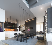The way that this low, dark table is almost a mirror image of the elevated kitchen shelving gives this modern dining area a bit of a twisted Alice in Wonderland feel.