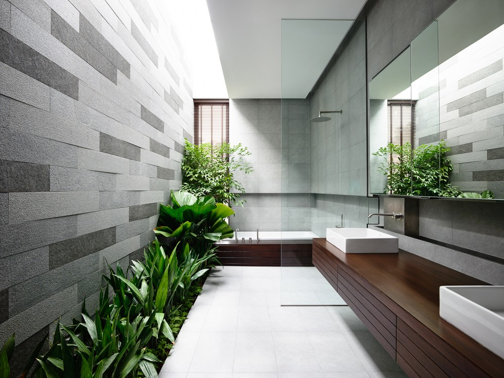 Outdoor Bath - Open tropical home with interior courtyard and wood features