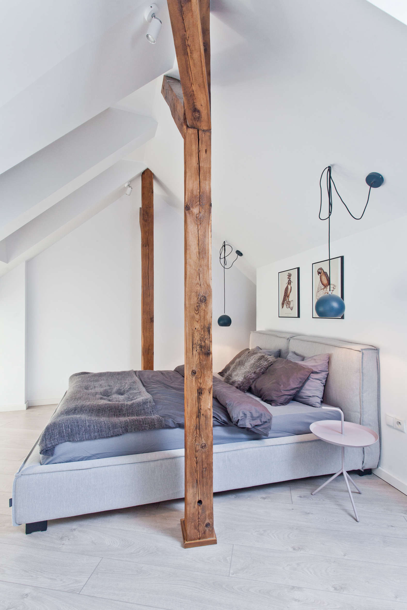 Pretty Bedroom Design - An old attic is transformed into a gorgeous apartment