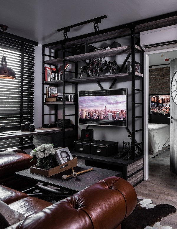 Three Dark Colored Loft Apartments with Exposed