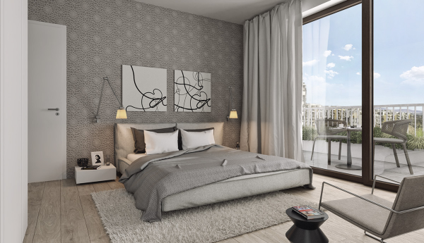 Gray is anything but dreary in this sunny bedroom.