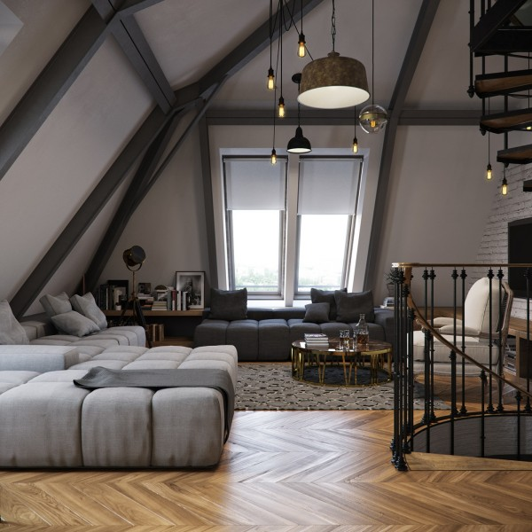 Interior and Furniture Designs Three Dark Colored Loft Apartments