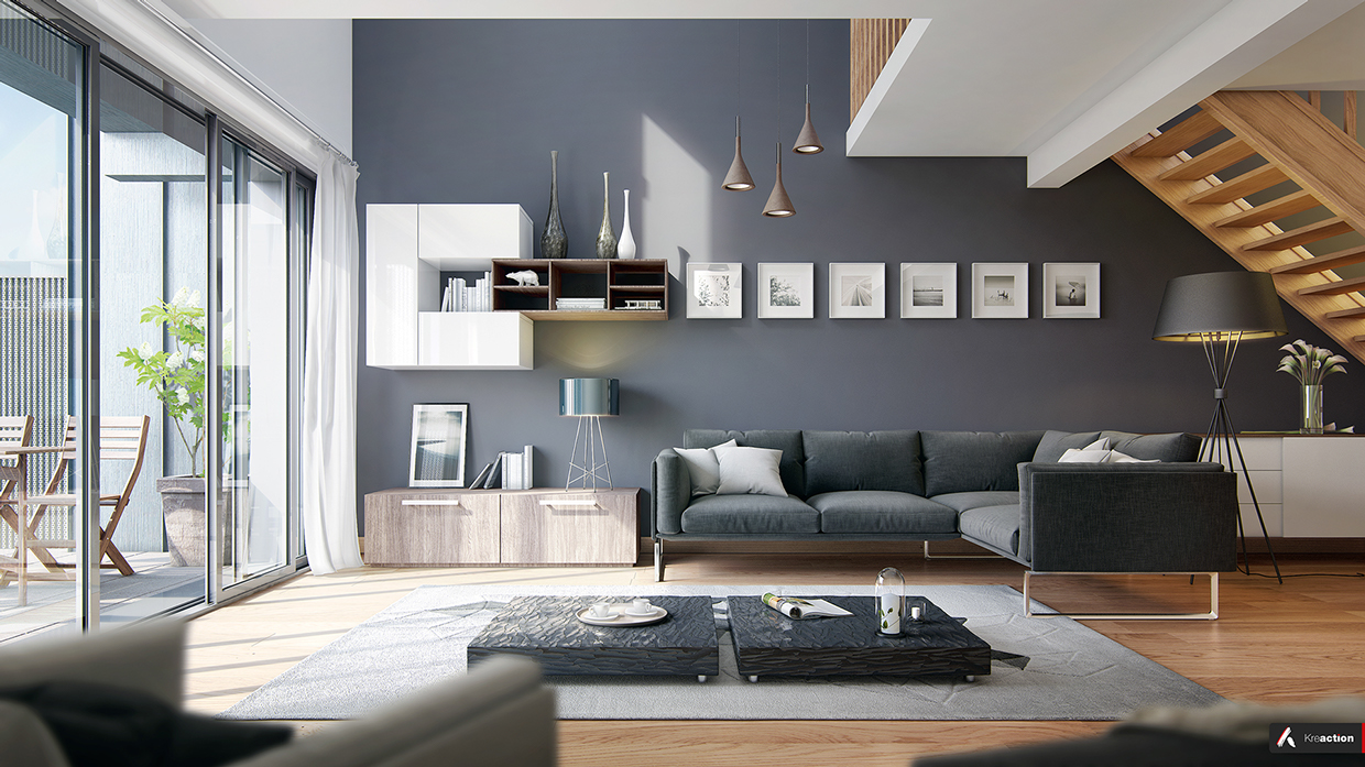 Slate gray walls and a deep blue sofa give this living room a bit of a
