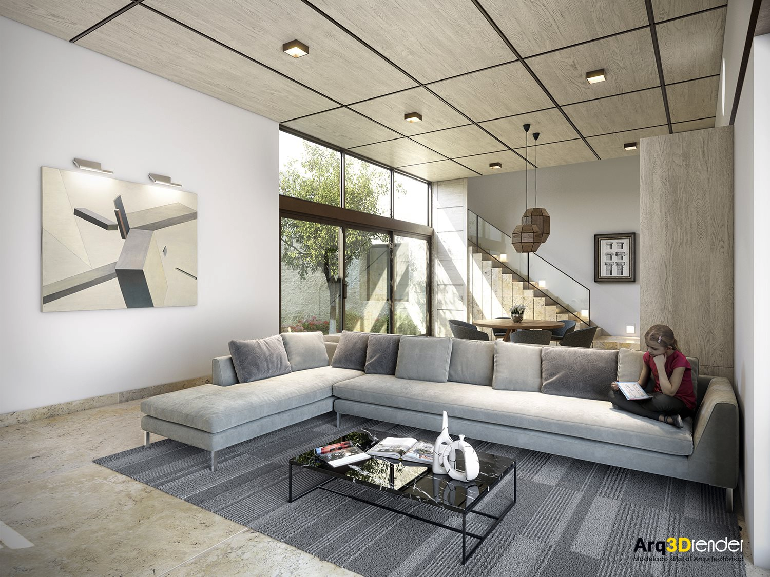 25 modern living rooms with cool clean lines for Living room drawing design