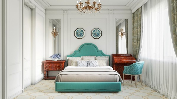 A turquoise bed and sidechair give this Victorian-inspired bedroom a modern twist.