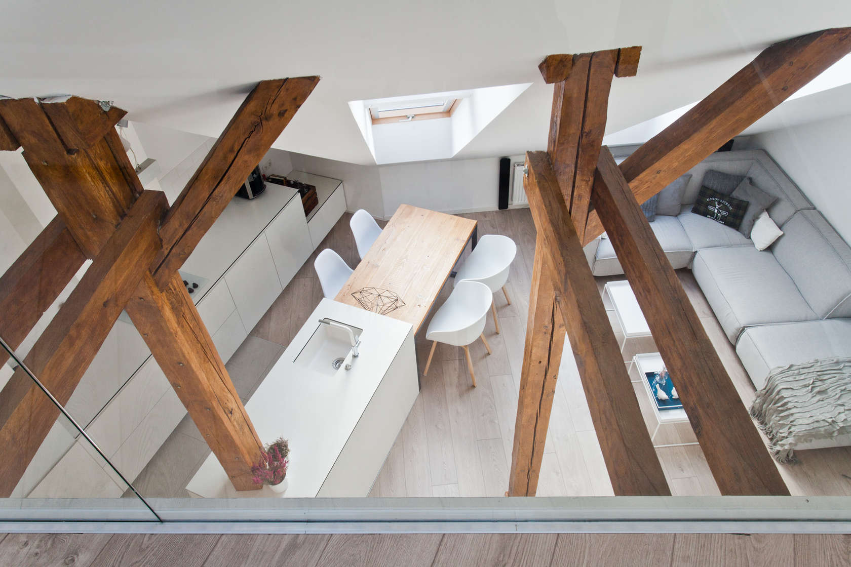 Vaulted Ceilings - An old attic is transformed into a gorgeous apartment