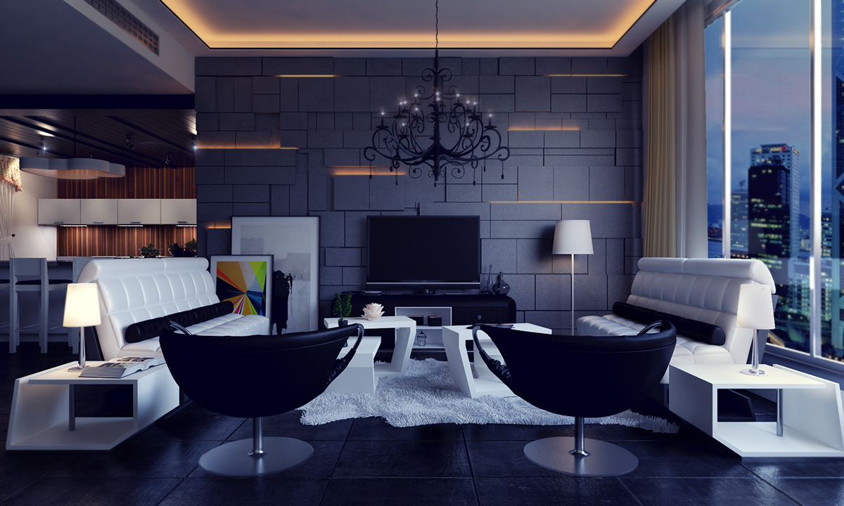 Modern Living Room Black Modern House