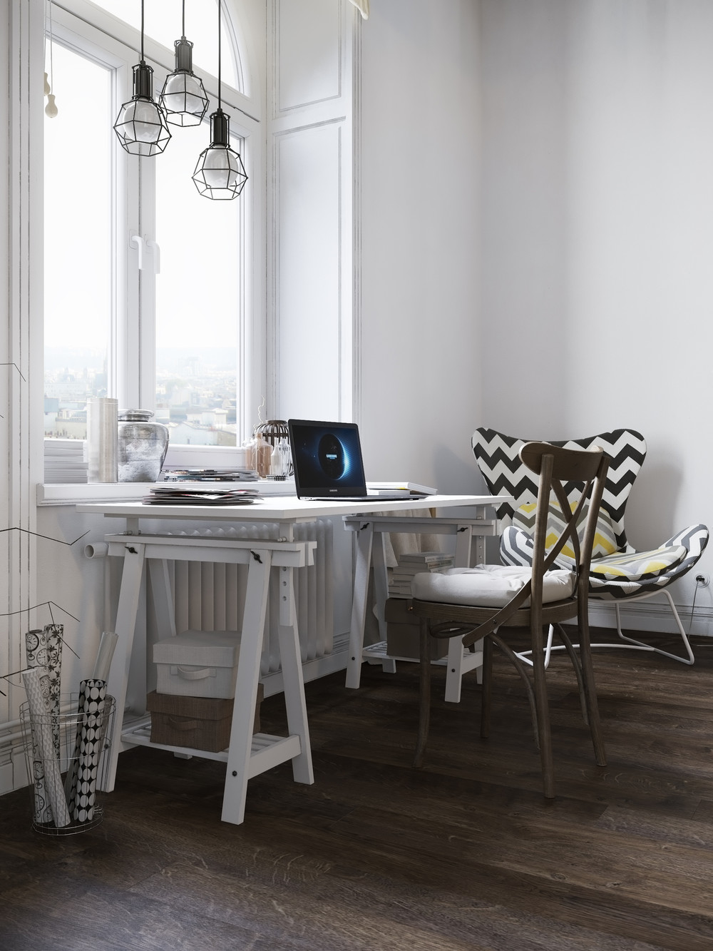 White Drafting Table Interior Design Ideas