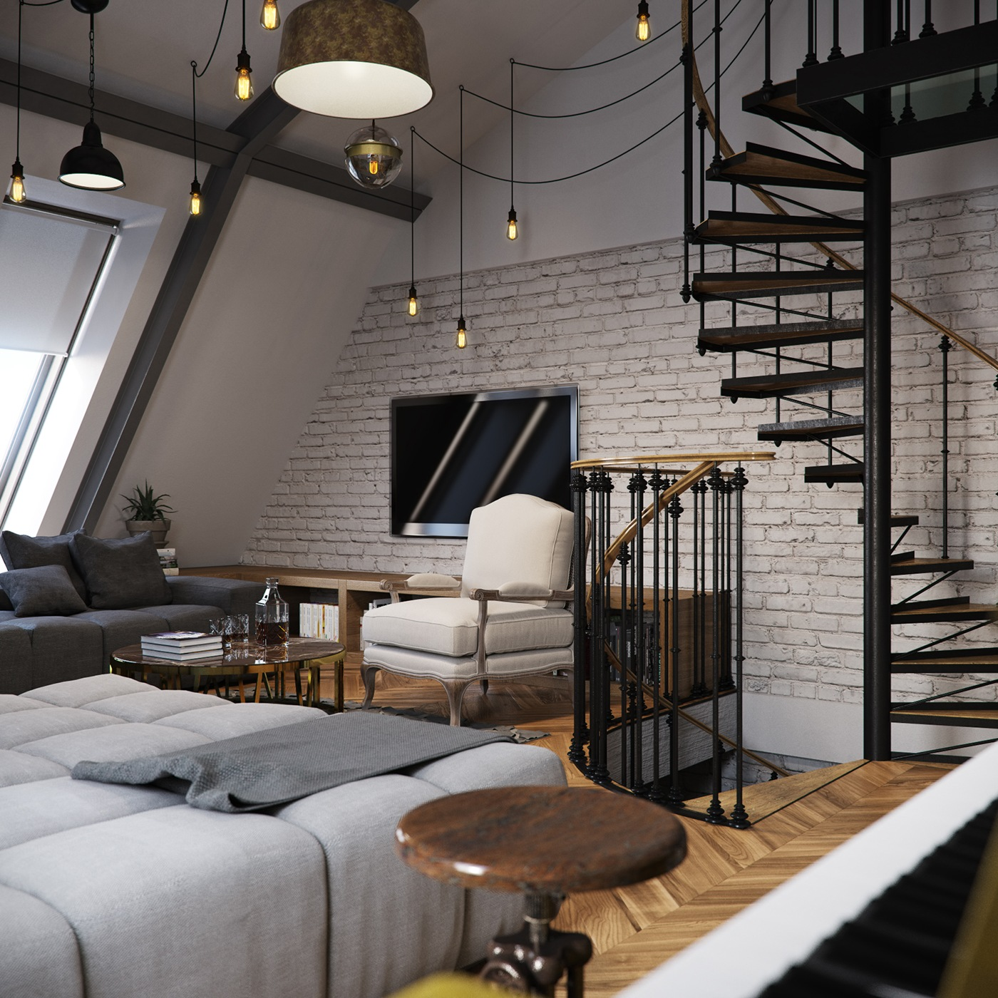 Three dark colored loft apartments with exposed brick walls for W loft