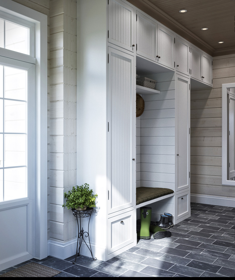White Paneling - 2 provence style apartment designs with floor plans