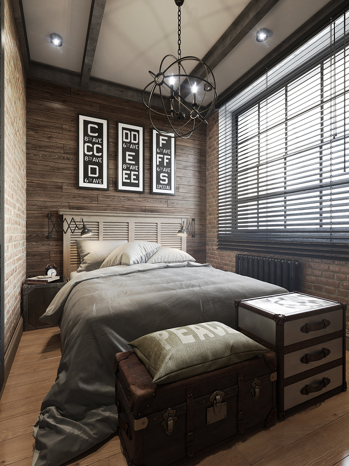 Three dark colored loft apartments with exposed brick walls for Bedroom ideas for 3 beds