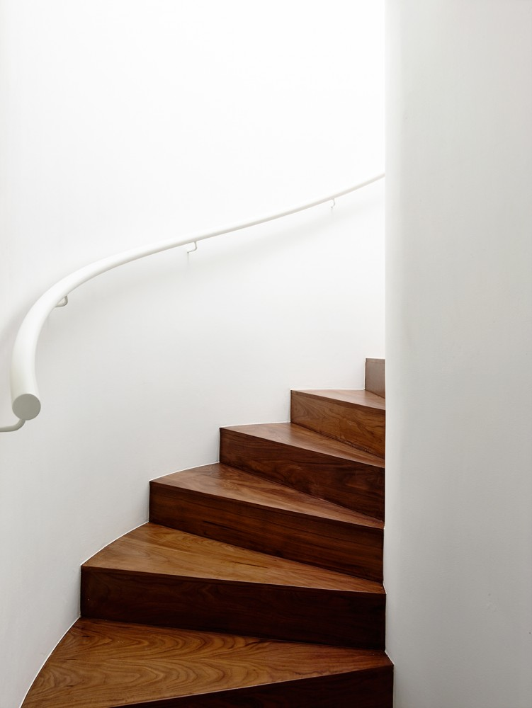 Wood Staircase - Open tropical home with interior courtyard and wood features