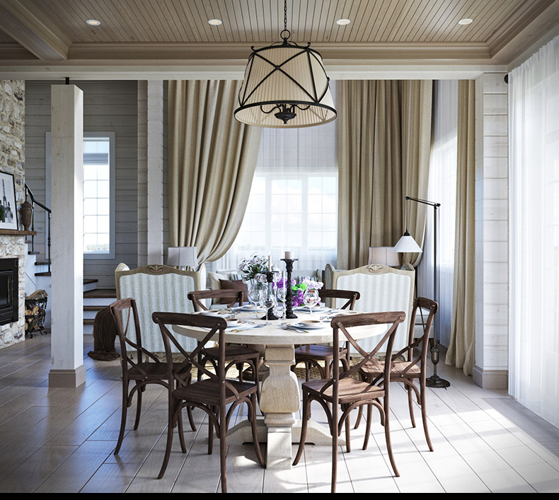 Wooden Dining Chairs - 2 provence style apartment designs with floor plans