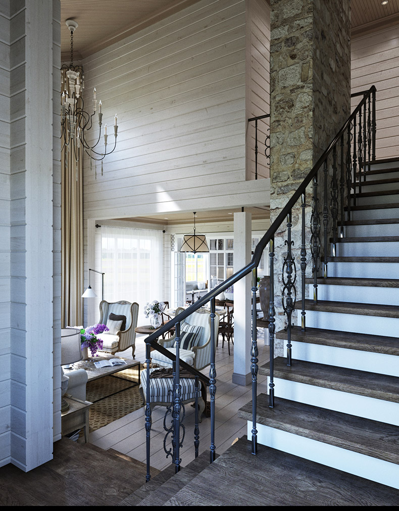 Wrought Iron Staircase - 2 provence style apartment designs with floor plans
