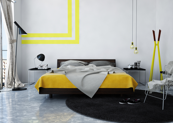 In another yellow option, a creative wall decal takes the place of hanging are and gives the room a bit more depth.
