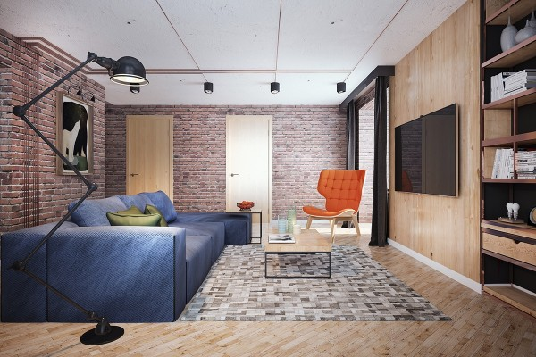 Exposed brick is the chief wall choice throughout the entire space and the brickwork is mirrored in the choice of area rug.