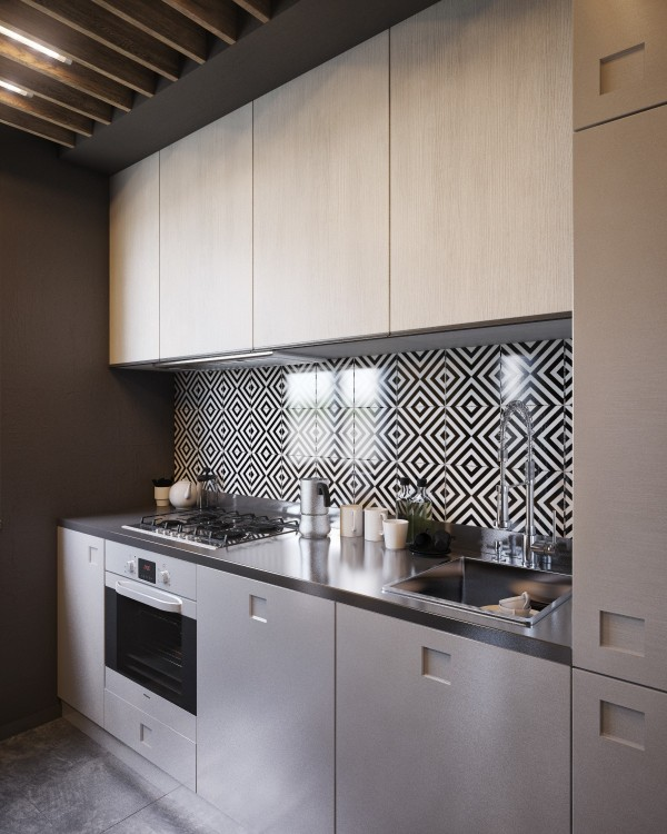 The appliances and storage are simple and modern, leaving the compact kitchen feeling uncluttered.
