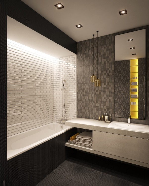 The pops of yellow, also found in other spaces, makes the bathroom feel lively and dynamic. Especially when you look at all of the textures used in the walls and floors.