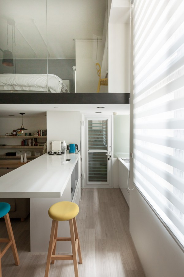 The galley kitchen, while simple, is efficient and well-designed.