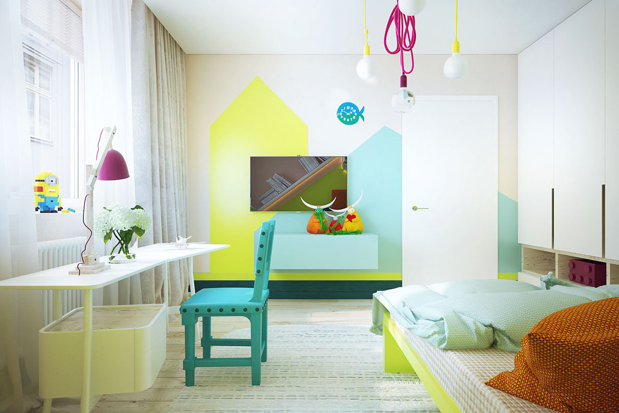 Modern Child S Bedroom With Bright Colors Interior
