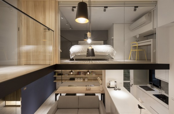 A ductless air conditioning unit is visible above the bedroom vanity and because of the open design, we'd imagine this loft stays pretty cool.
