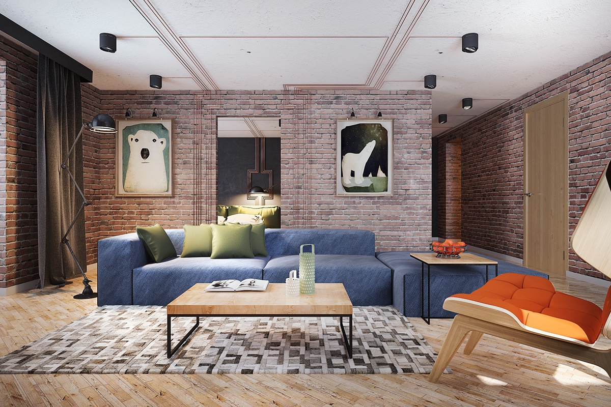 exposed brick living room interior design ideas