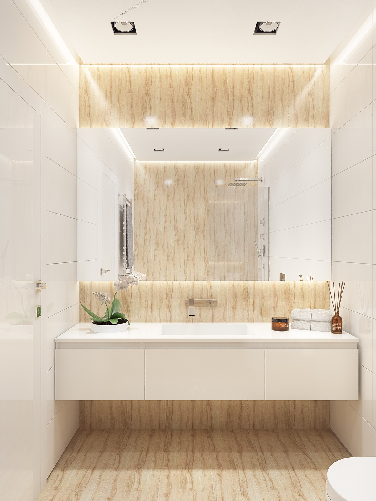Similarly simple designs with a bright and cheerful tone Simple contemporary bathroom design