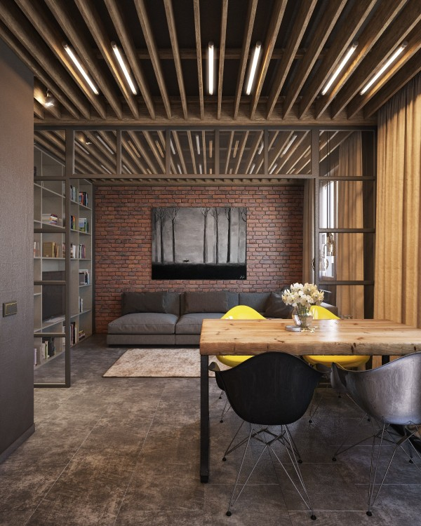 Exposed brick two ways for Exposed wood beam ceiling