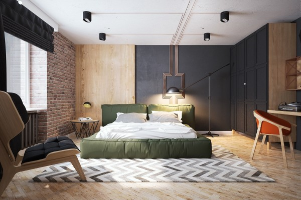 The bedroom, which blends together several textures including the exposed brick, feels so unique. There's contemporary design mixed with art deco geometry. Modern chevron blends expertly with midcentury hues of orange and green.
