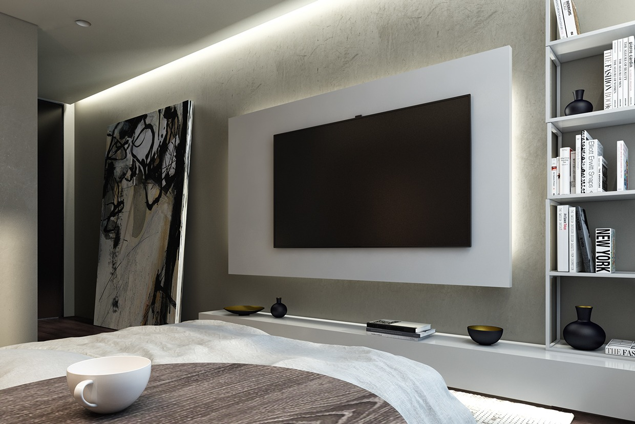Cool White Bedroom - Dark neutrals and clean lines unite six stylish homes
