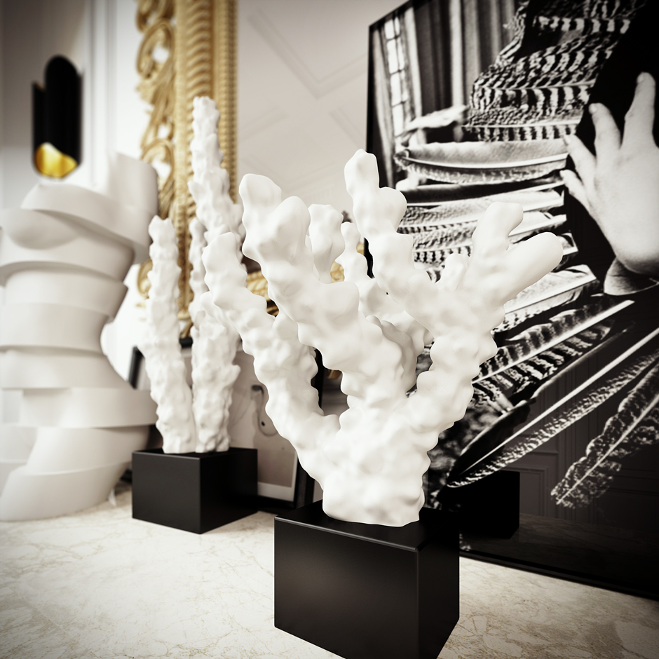 Coral Sculptures - 3 white apartments in different styles