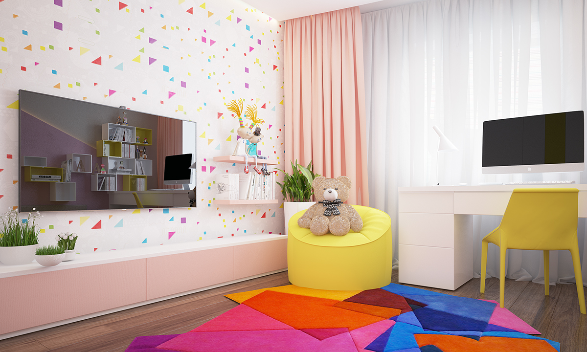 Creative Kids Room Wall - Two homes with colorful kids rooms included