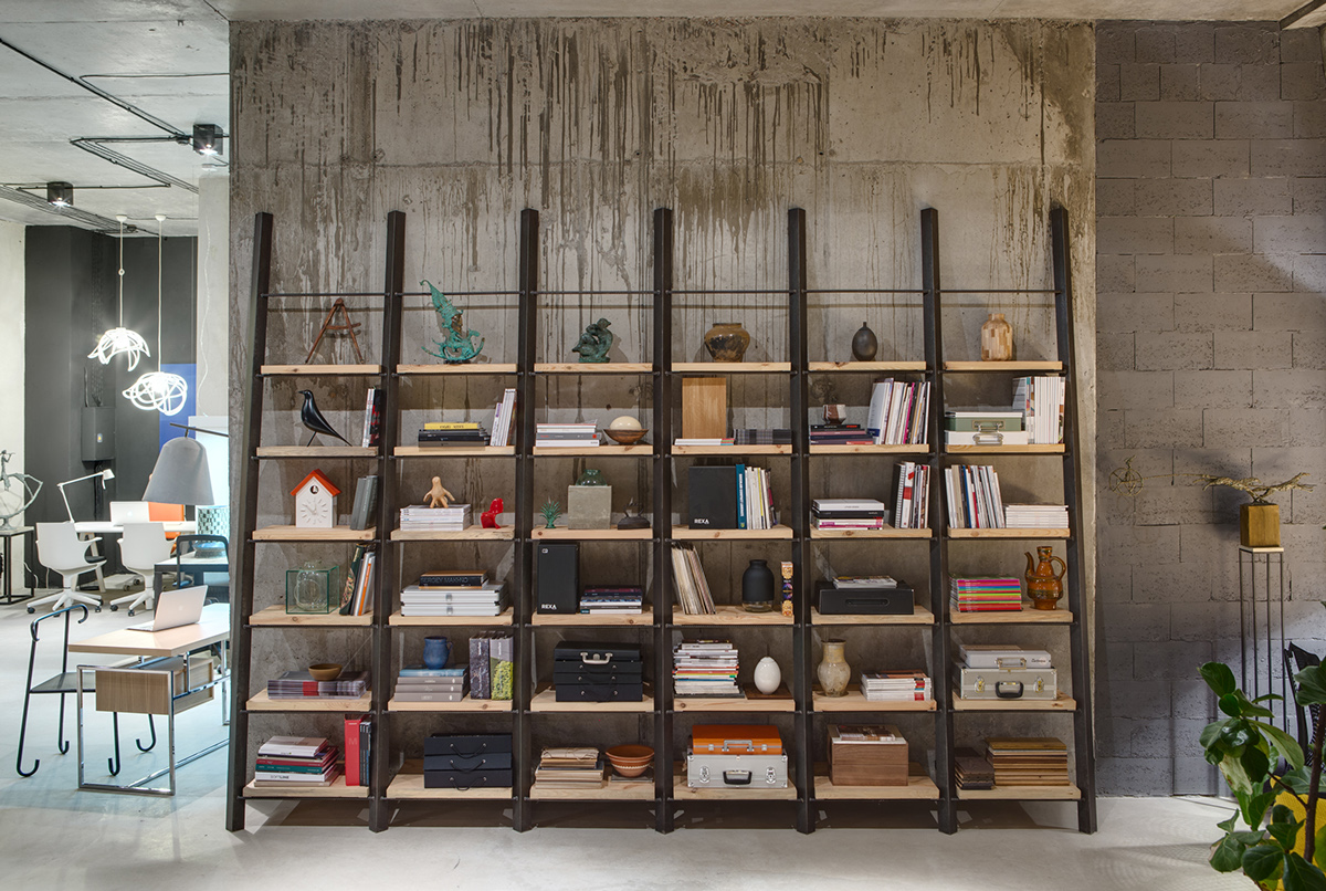 A modern office space that looks like an urban loft for Creative shelf ideas