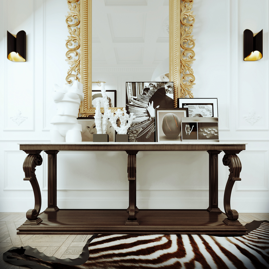 Elaborate Gold Mirror - 3 white apartments in different styles