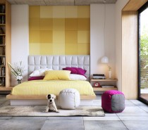 This next room is decidedly softer and perhaps a bit more traditionally feminine. White, pale yellow, and a few pops of on-trend magenta really give it a springtime aura. The cushioned headboard is another sweet, soft touch that's sure to promote good dreams.
